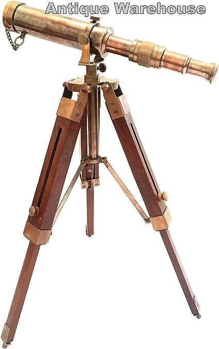 BRASS WOOD TELESCOPE WITH STAND MARITIME MARINE NAUTICAL//DECOR NEWYEAR GIFT