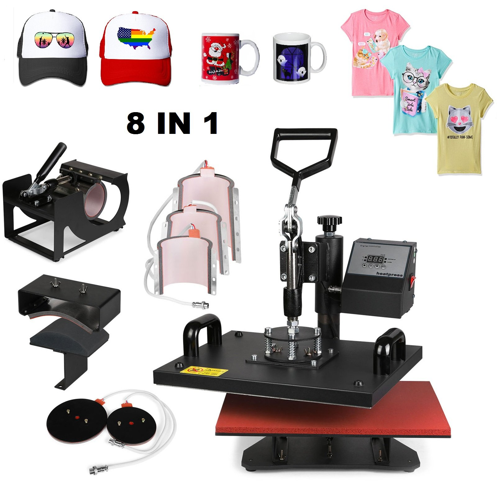 Superland 8 in 1 Digital Heat Press 12 x 15 Inch Multifunctional Transfer Sublimation T-Shirt Hat Mug Heat Press Machine (8 in 1: 12''x15'')
