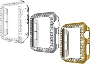 44mm Case Compatible with Apple Watch,Bling Rhinestone Apple Watch Frame Protector Case,Protective Case Cover for iWatch Series 5/4(3 Packs)