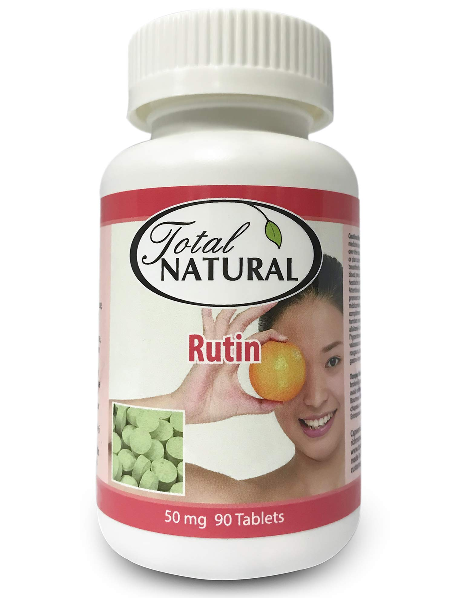 Rutin 50mg 90 Tablets [1 Bottle] by Total Natural, Anti-inflammatory, Help Absorb and Utilize Vitamin C, Improved Vascular Health, Vision Care