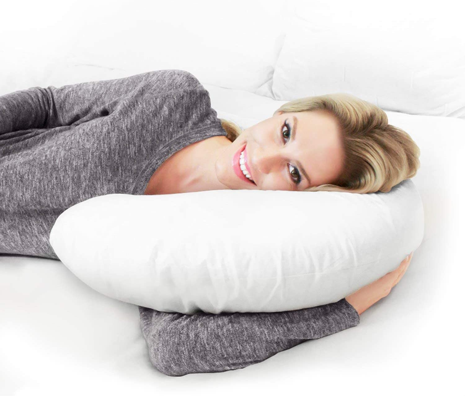 Restorology 60-Inch Full Body Pregnancy Pillow - C-Shaped Maternity and Nursing Support Cushion with Washable Cover