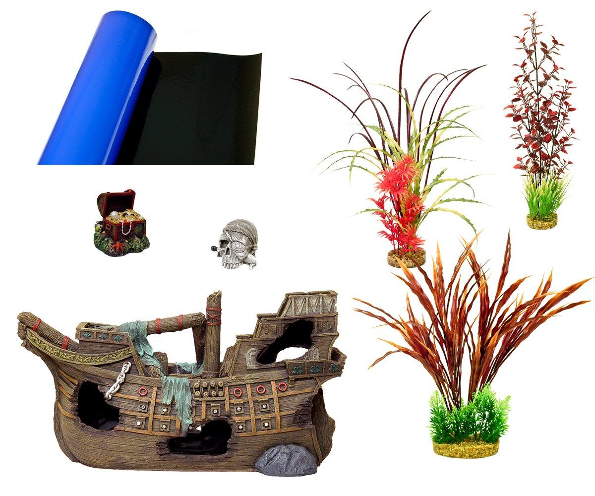 Blue Ribbon 6-Piece Aquarium Ornament Decoration Assortment, Supersize Galleon Pirate Ship Theme