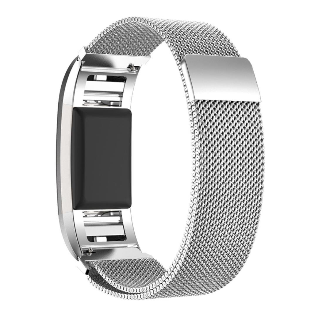 Alonea Milanese Stainless Steel Watch Band Strap Bracelet + HD Film For Fitbit Charge 2 (Silver)