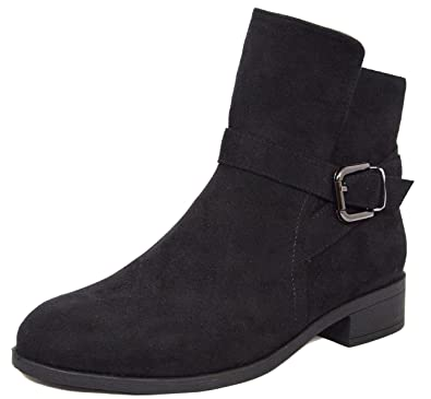 Women's Engineer Buckle Accent Chunky Stacked Low Heel Ankle Boot