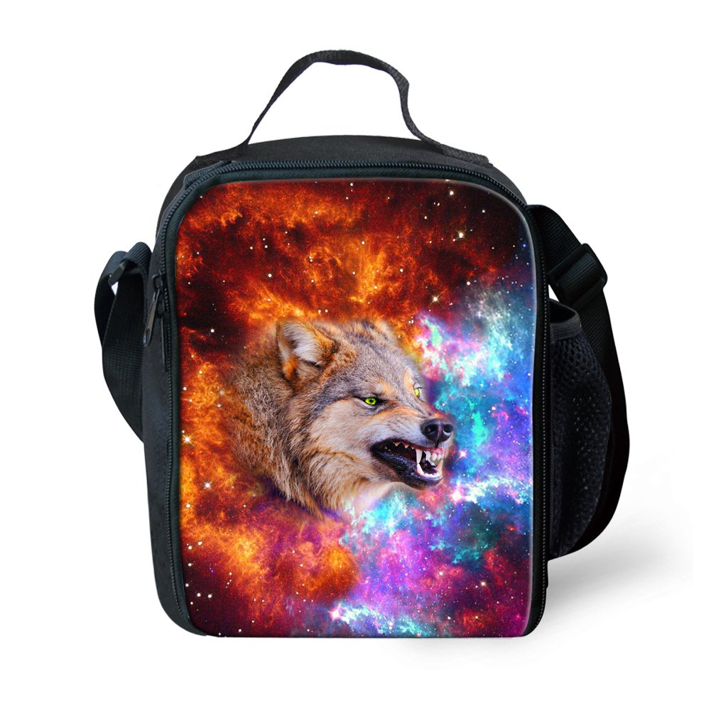 Coloranimal Cool Animal Wolf Pattern Galaxy Printed Thermal Lunch Bags Shoulder Tote Lunchboxes