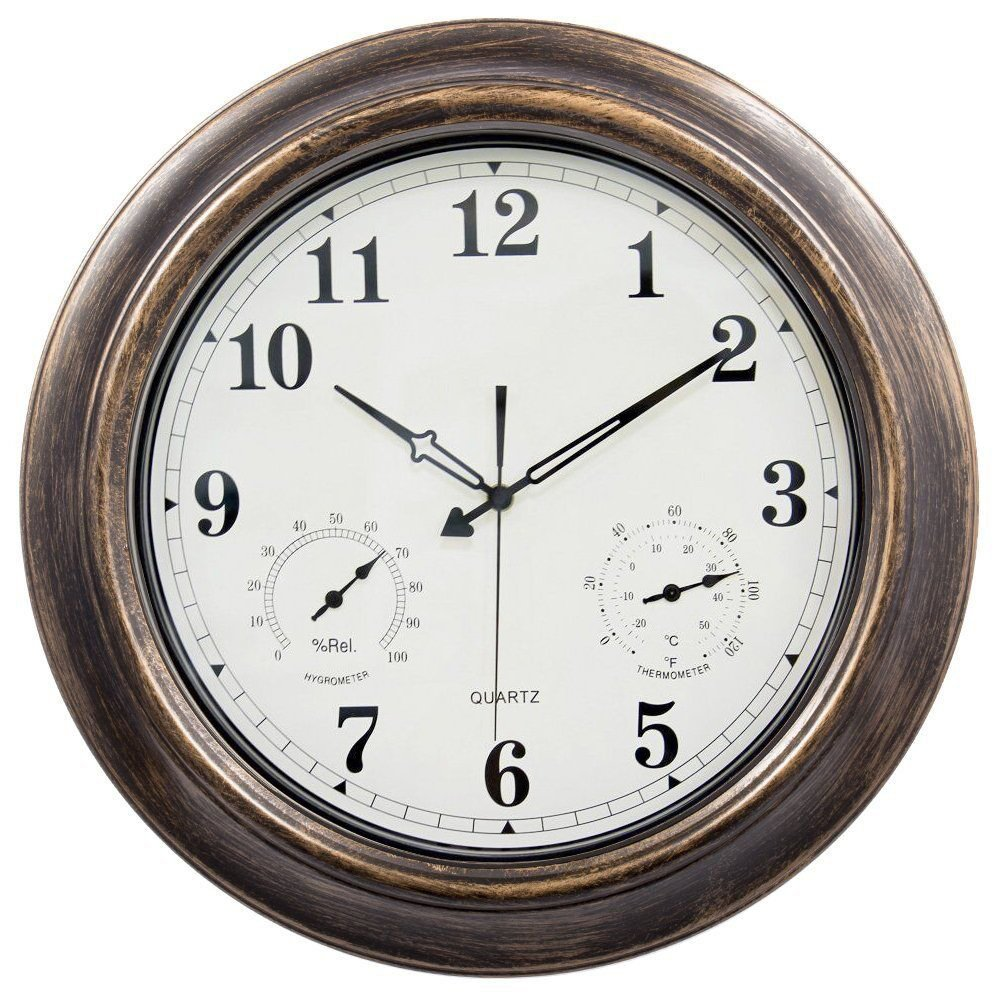 Waterproof 18 inch Wall Clock,Ing-Never Stop Indoor/Outdoor clock with Temperature and Humidity - Silent Movement