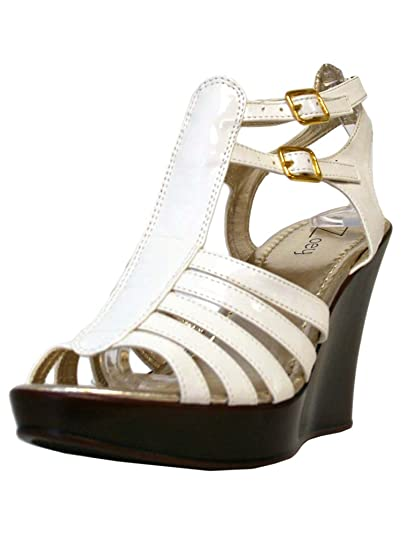 2f00a755387f62 Zoey White Patent Leather Strappy Wedge Sandals Size 9