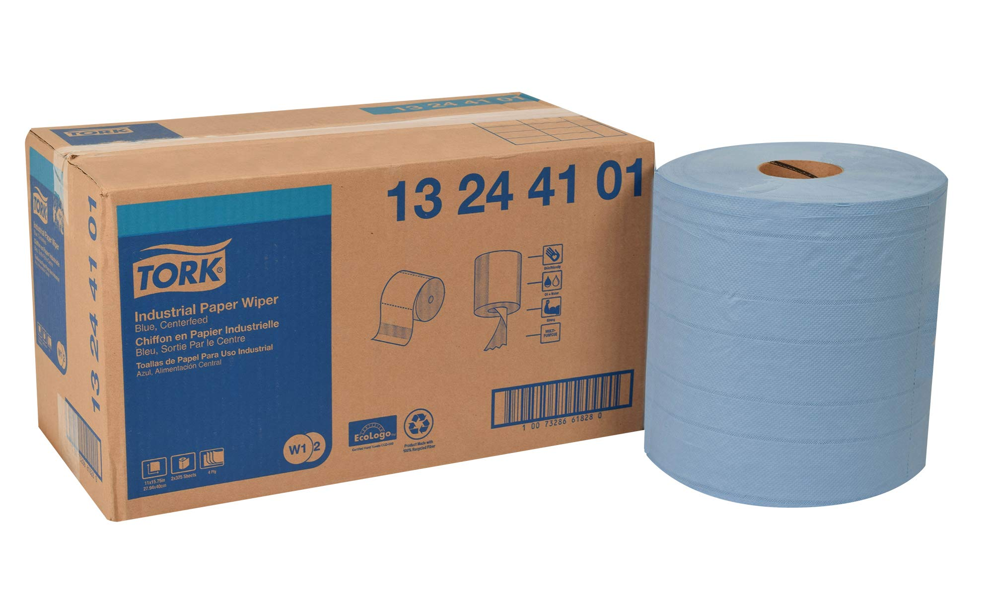Tork 13244101 Industrial Paper Wiper, Centerfeed, 4-Ply, 11.0'' Width x 492' Length, Blue (Case of 2 Rolls, 375 per Roll, 750 Wipers per Case) Use with Tork 6520281, 6521281, 653020 or 653028