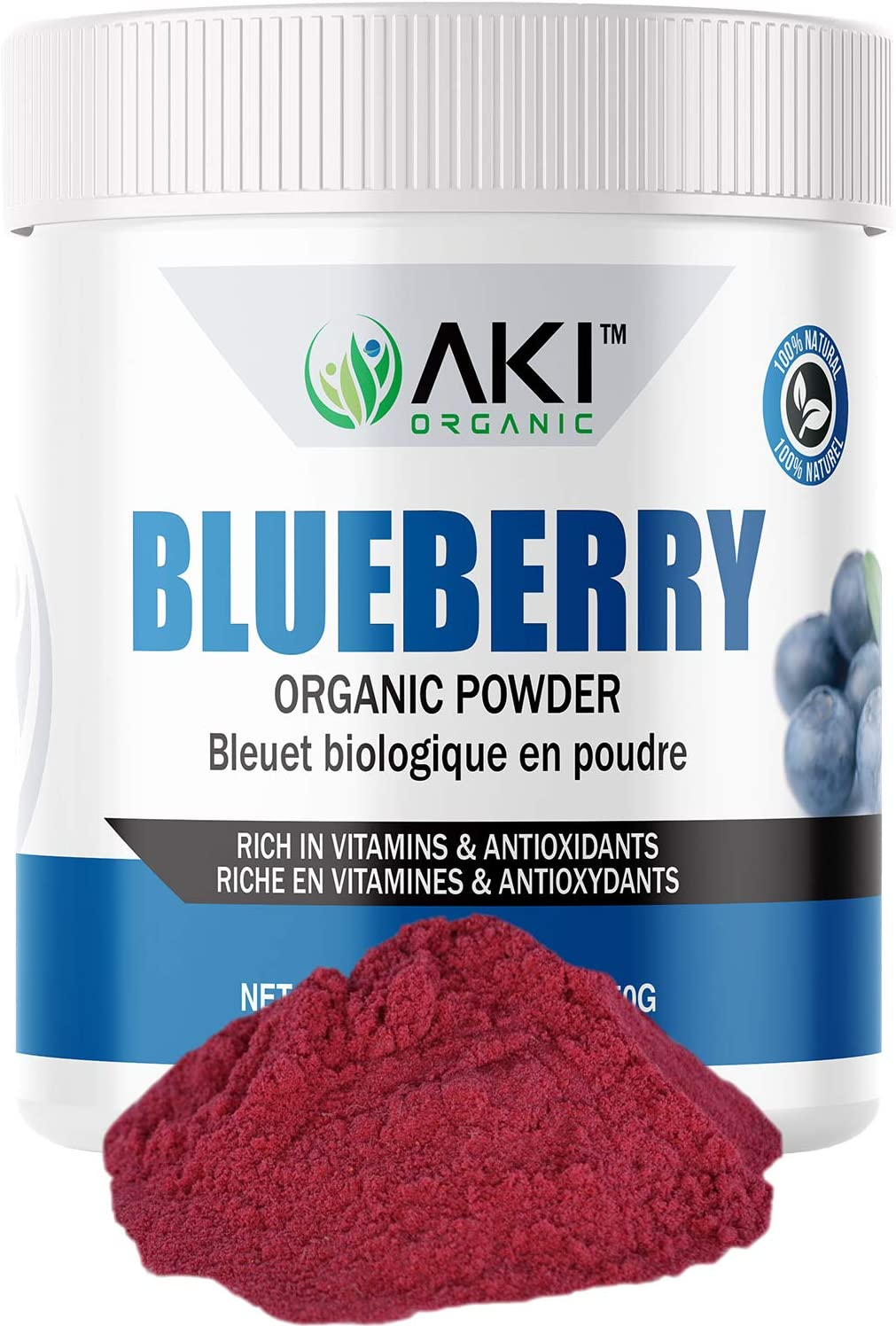 Aki Organic Blueberry Powder Dried Superfood Rich in Antioxidant, Sugar Free, Bulk Powdered Blueberries Fruit for Baking, Flavoring, Smoothie, Yogurt, Recipes, Sprinkle of Magenta Color 5.29 Oz/150Gr