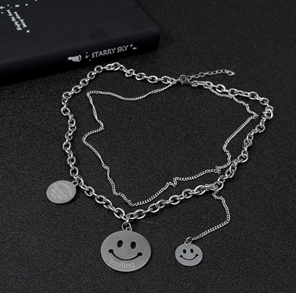 WANGXJ Harajuku Style Retro Smiley Expression Pack Multilayer Necklace Alphabet Tassel Clavicle Chain Short Section