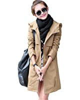 Beautface Makeup Plus Size Women Coat Spring Autumn Hooded Long Trench Coat Female Slim Solid Thin