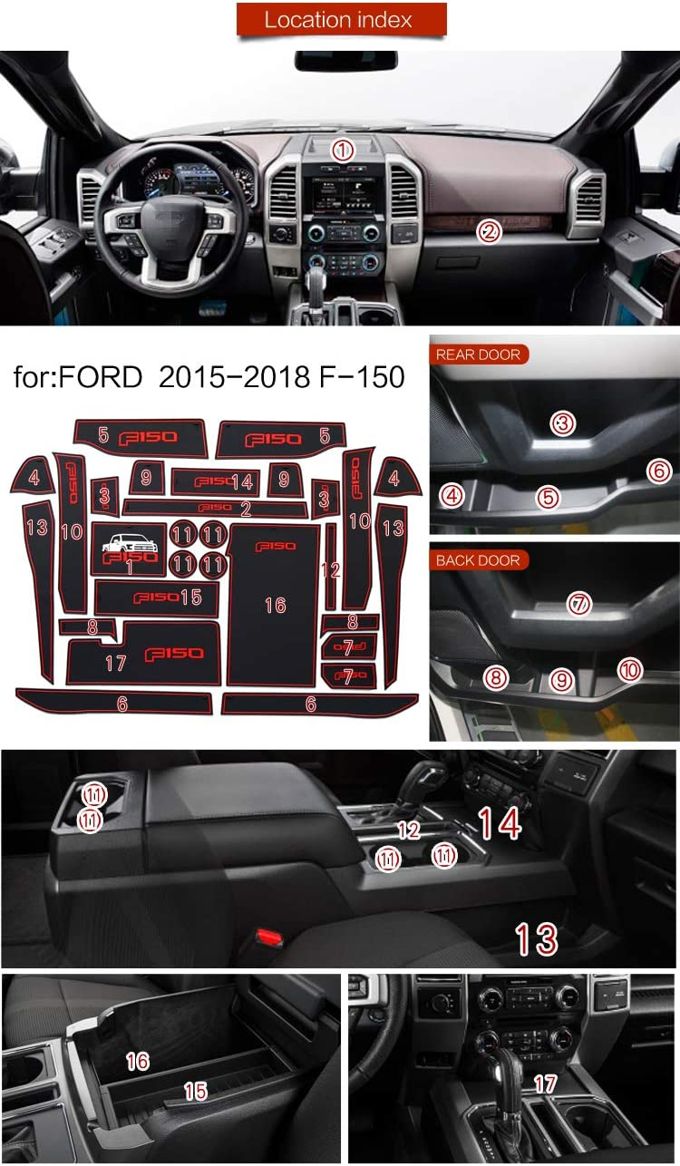 Non-Slip Center Console Cup Holder Liner Door Gate Slot Mats Carpets Position for Ford F-150 29pcs Blue