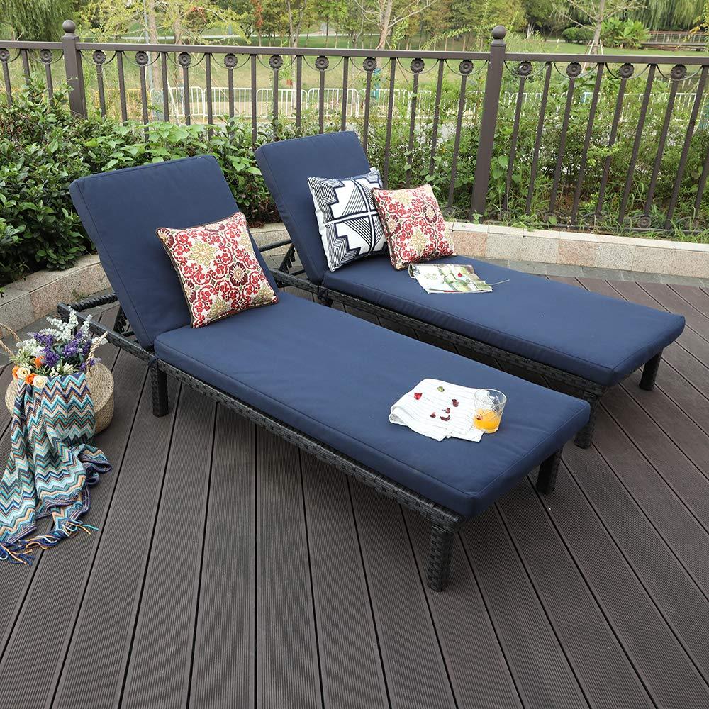 PHI VILLA 2 Piece Outdoor Patio PE Rattan Wicker Chaise Lounger Set