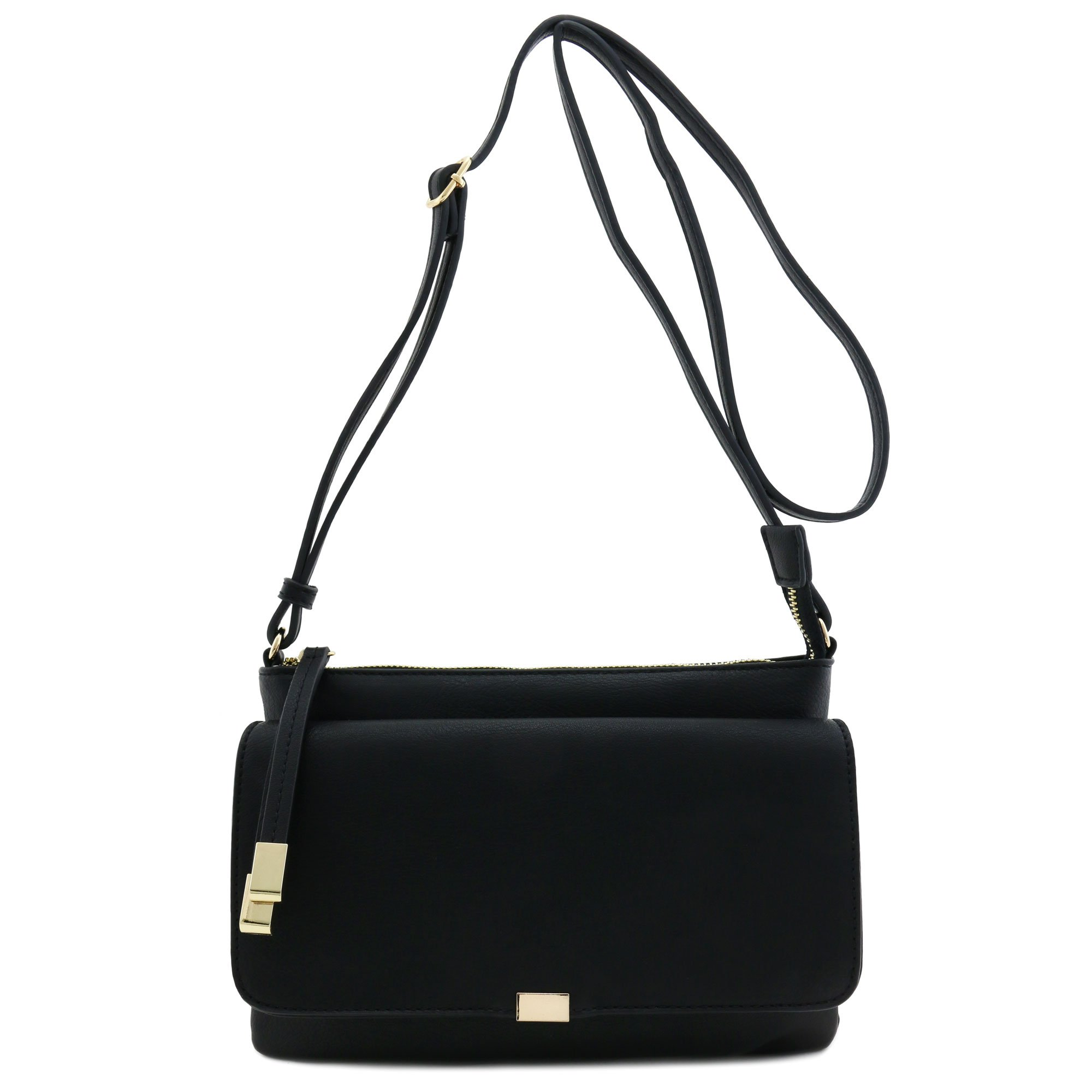 Half Flap Zip Top Crossbody Bag Black