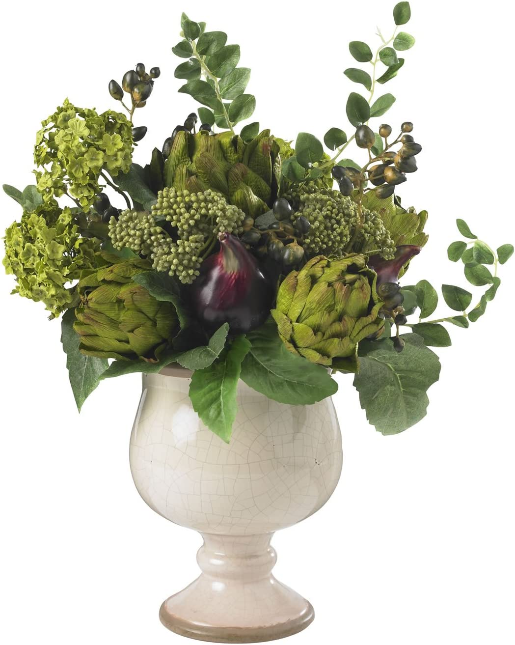 Nearly Natural 4759 Artichoke and Hydrangea Silk Flower Arrangement, Green/White