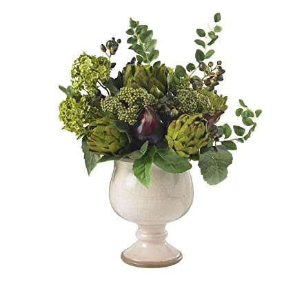 Amazon nearly natural 4759 artichoke and hydrangea silk flower nearly natural 4759 artichoke and hydrangea silk flower arrangement green white mightylinksfo