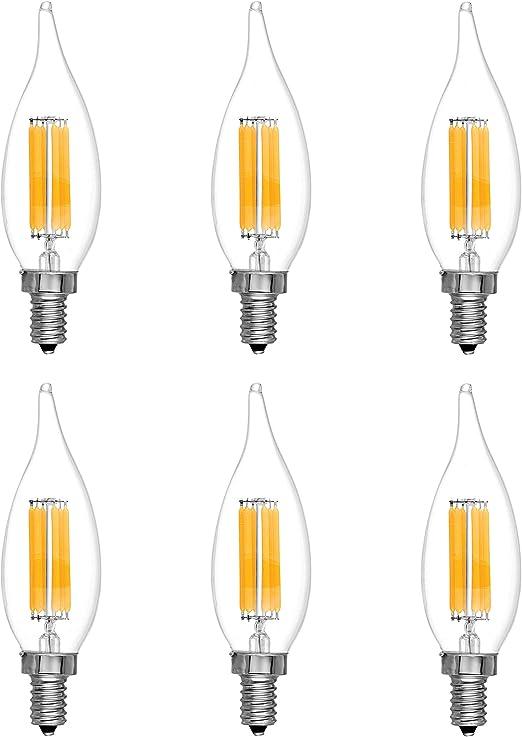 B11 E12 Base 60W Equivalent LED Candelabra Light Bulbs Clear Dimmable 120V 6Pack