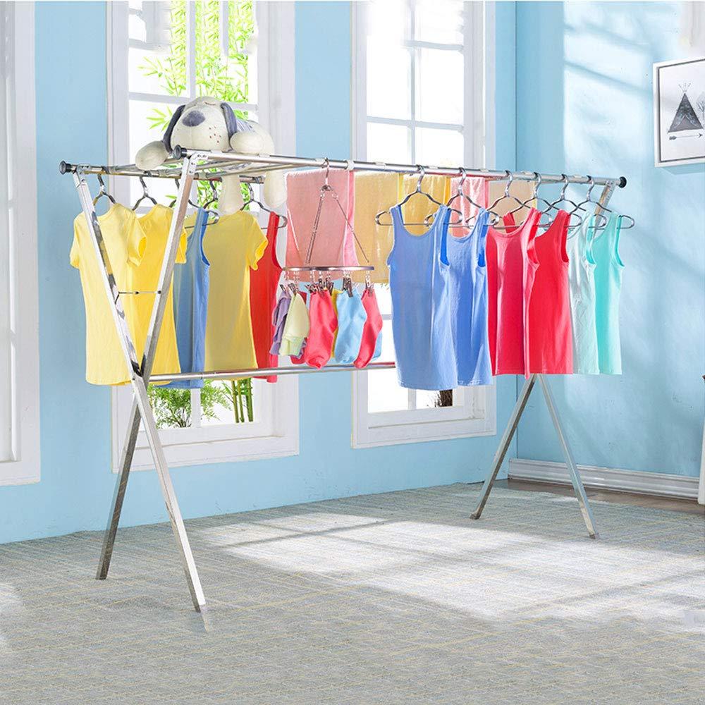 JIE KE 乾燥ラック、ラックを乾燥させる伸縮性のある衣類屋内および屋外のステンレス鋼の増粘乾燥ラック B07Q36568N