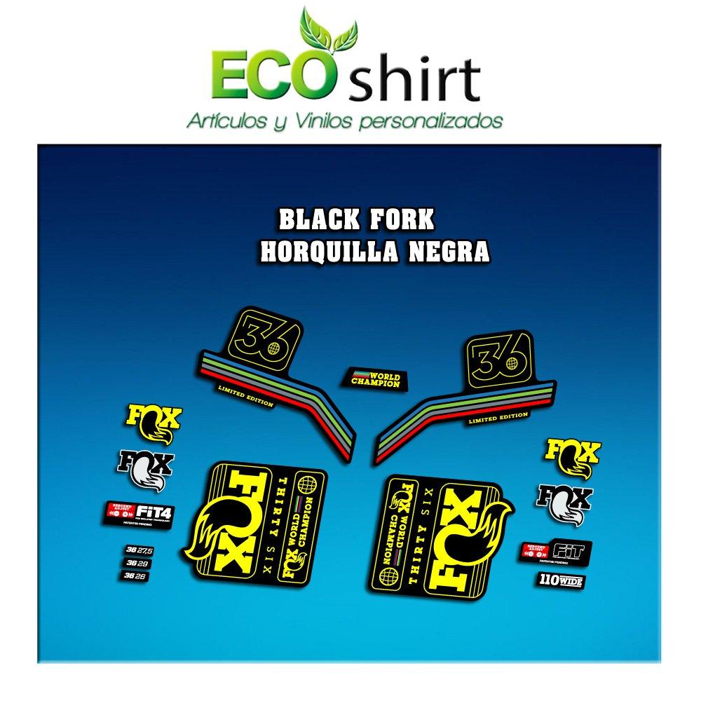 Ecoshirt XP-815M-SGP4 Stickers Fork Fox 36 WC World Champion 2017 Am140 Aufkleber Decals Autocollants Yellow