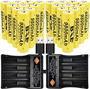 Lithium 9800mah Rechargeable 18650 Batteries(20-Pack) 3.7V Button Top for Led Flashlight Headlamp with 2x4-Slot Charger
