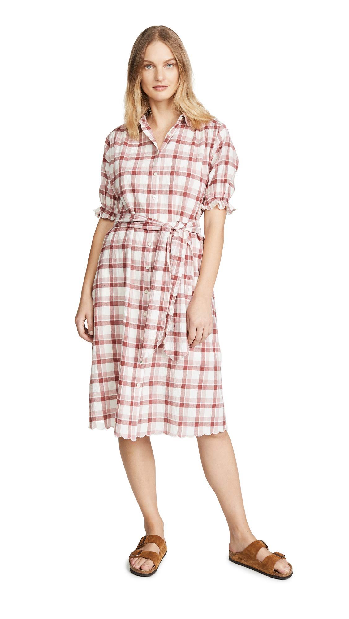 THE GREAT. Women's The Scallop Kerchief Dress, Brick Red Plaid, 3