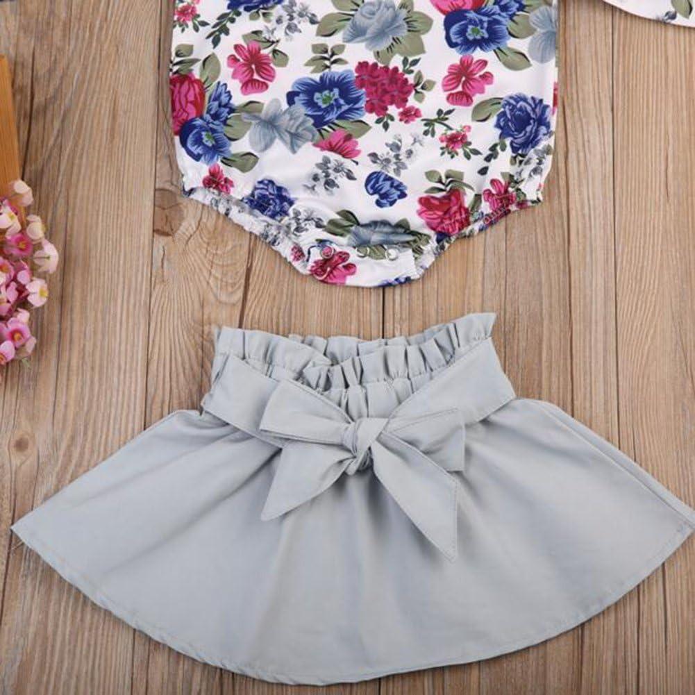 Big Bowknot Short Dress Clothes Set Yiding 2Pcs//Set Baby Girl Flower Printted Romper Jumpsuit