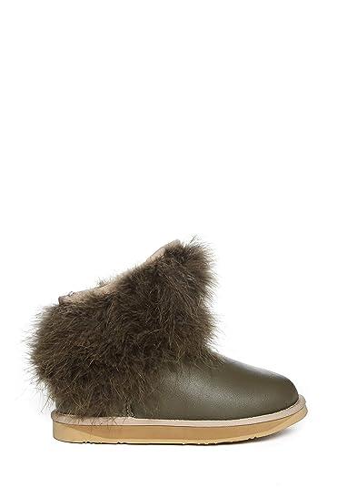 7931a3632601 Australia Luxe Collective Bottines fourrées en Cuir, Plumes de Marabout  Femme: Amazon.fr: Chaussures et Sacs