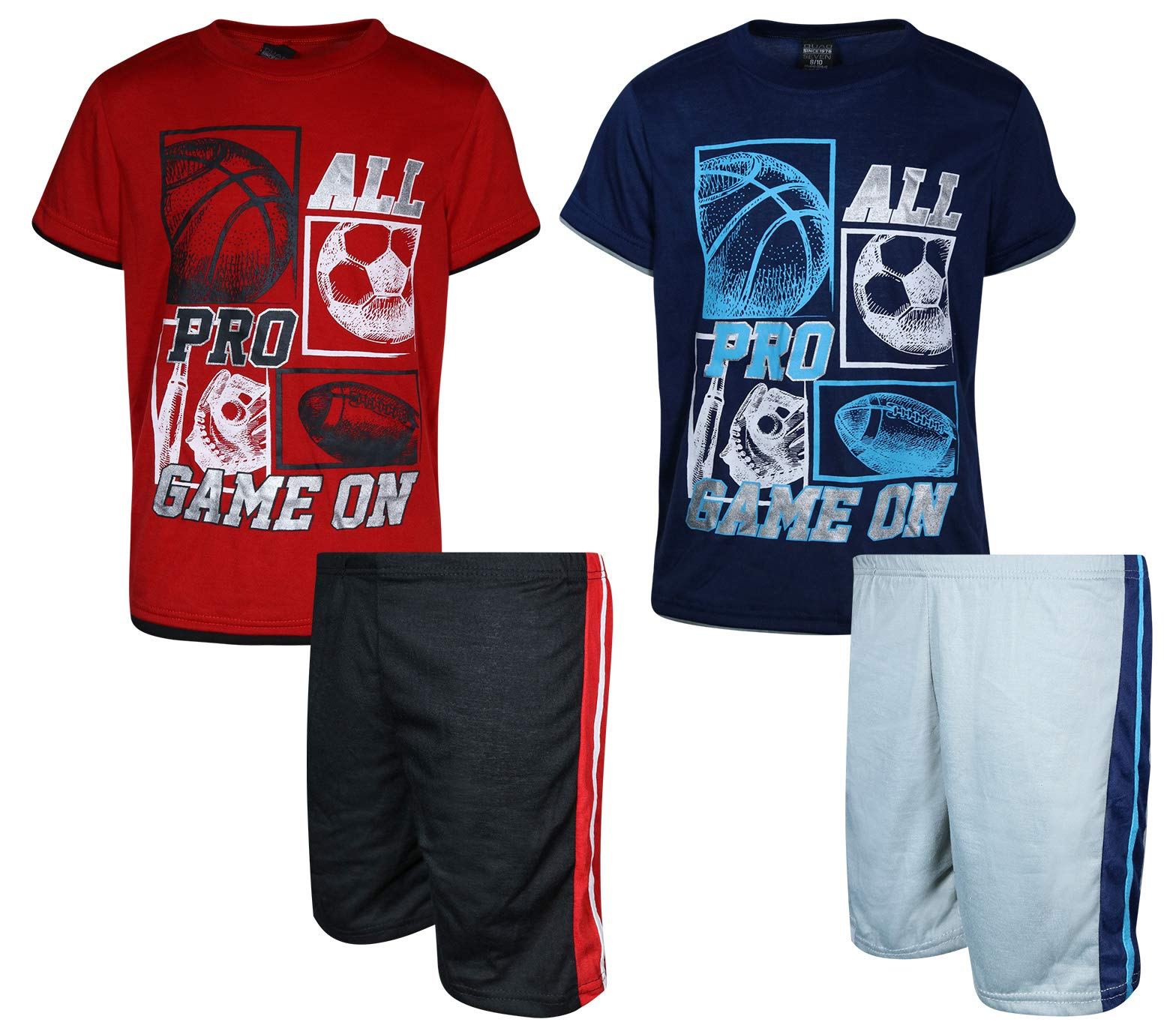 Quad Seven Boys' 4-Piece Summer Pajama Short Set, All Pro, Size 12/14'