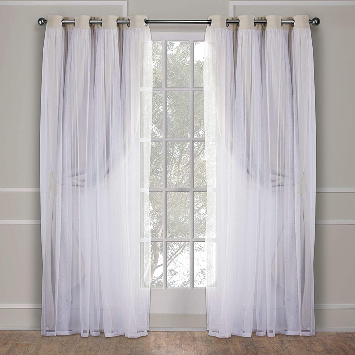 Exclusive Home Catarina Layered Solid Blackout And Sheer Grommet Top Curtain Panel Pair Sand 52x96 2 Piece Amazon Ca Home Kitchen