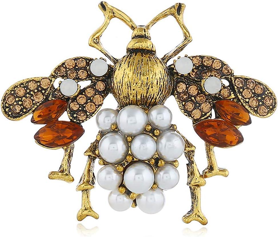 BaiXing Abejas Europeas y Americanas con Diamantes Broche estéreo Personalidad Exquisita Perla de la aleación Collar de Regalo de Insectos Broche de Vacaciones Pin joyería Simple Linda (Color : Gold)