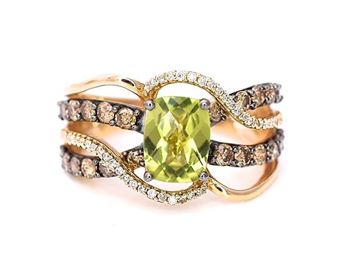 LeVian Peridot Chocolate White Diamonds Cocktail Ring Multi Row Stackable Criss Cross 2.15 cttw, size 7