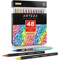 Arteza Real Brush Pens, 48 Colors for Watercolor Painting with Flexible Nylon Brush Tips, Paint Markers for Coloring…