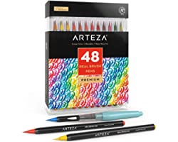 Arteza Real Brush Pens, 48 Colors for Watercolor Painting with Flexible Nylon Brush Tips, Paint Markers for Coloring, Calligr