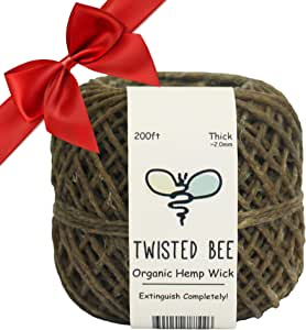 Thick x 200ft, Organic Hemp Wick with Natural Beeswax Coating | Twisted Bee
