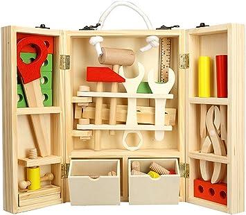 Tlingit Construcción Juguetes Niños Herramientas de Madera Juego Caja Carpintero 35 Pcs DIY Toys 4 Años y Más: Amazon.es: Juguetes y juegos