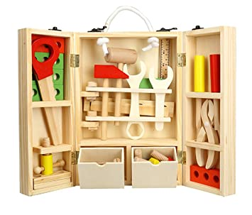 Construcción Juguetes Niños Herramientas de Madera Juego Caja Carpintero 35 Pcs DIY Toys 4 Años y Más: Amazon.es: Juguetes y juegos