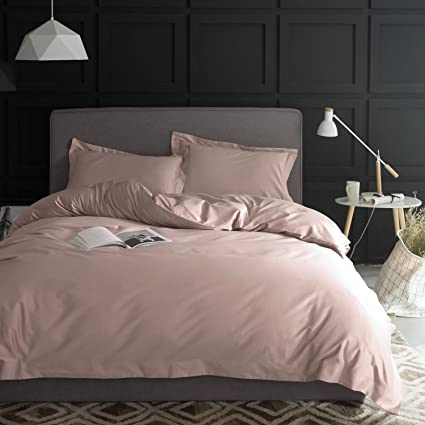 Eikei Solid Color Egyptian Cotton Duvet Cover Luxury Bedding Set High  Thread Count Long Staple Sateen