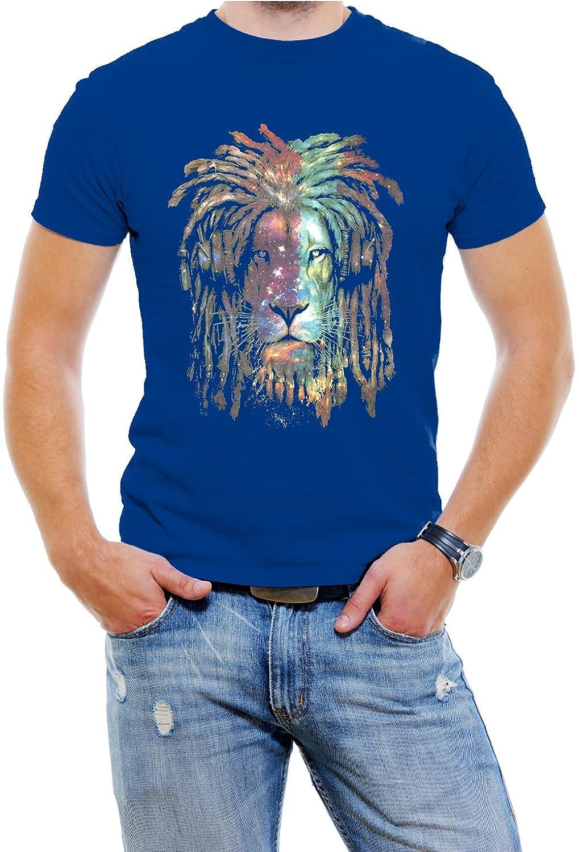 Galaxia Lion Face Men fashion T-Shirt Soft Cotton Short Sleeve Tee