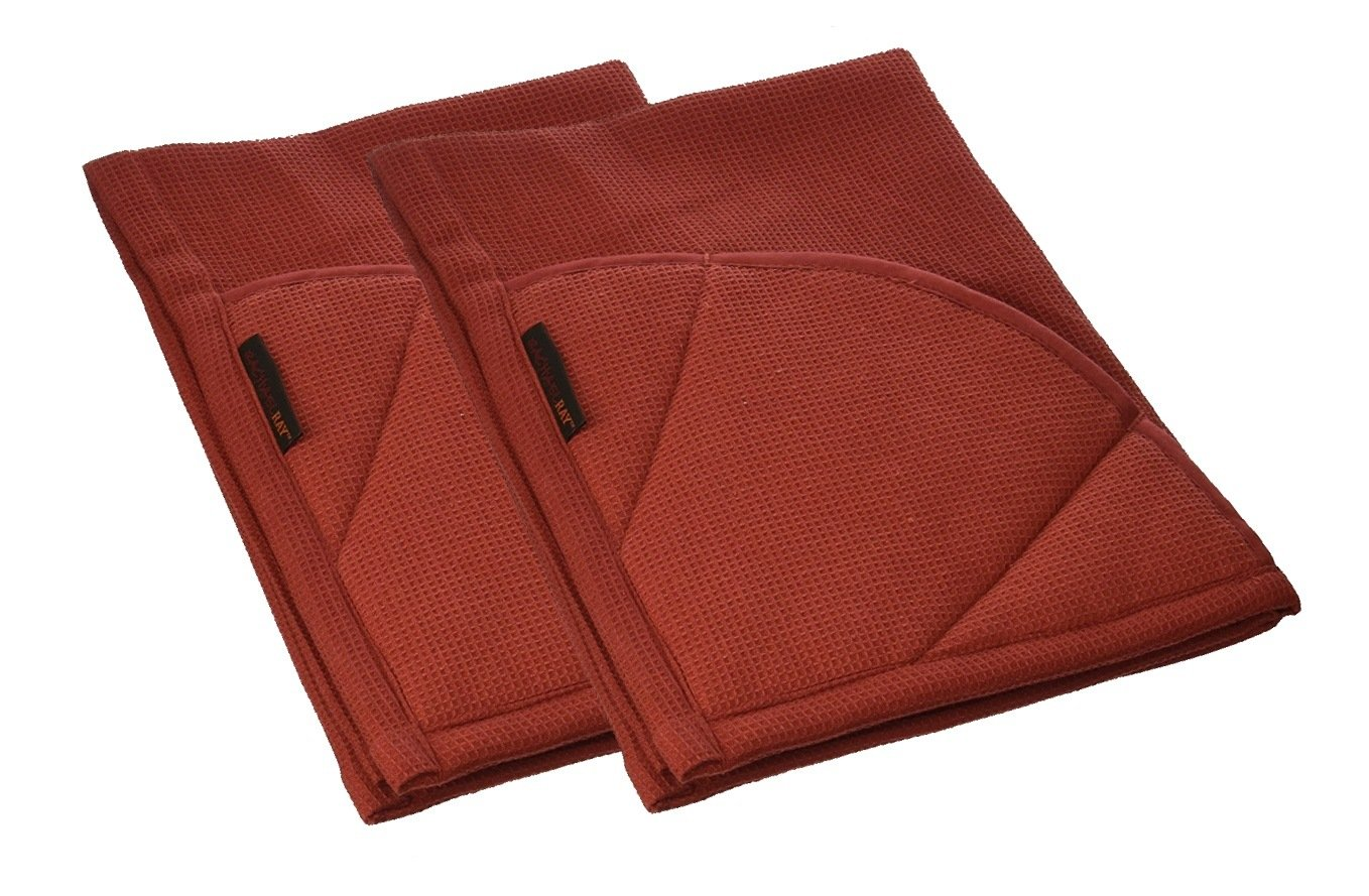 Rachael Ray Multifunctional 2-in-1 Moppine, Ultra Absorbent Kitchen Towel & Heat Resistant Pot Holder Brick Red (Pack of 2) by Rachael Ray