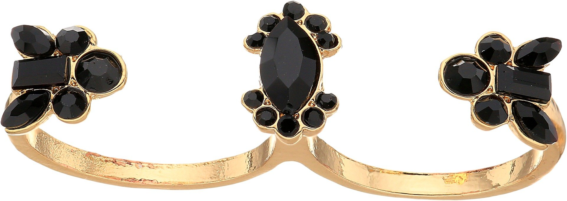 GUESS Ring Update Women's Jet Stone Two Finger Ring, Gold, 7