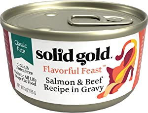Solid Gold Pate In Gravy Wet Cat Food; Flavorful Feast Grain Free With Real Salmon & Beef (Formally Wild Harvest), 24Ct/3Oz