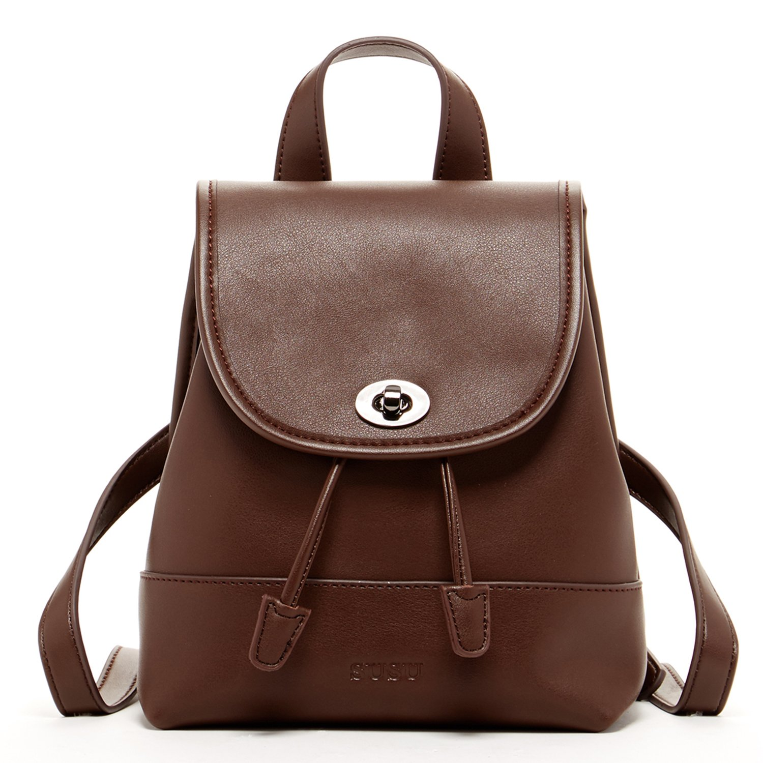 SUSU Designer Backpacks For Women Dark Brown Small Leather Backpack Purse Vintage Look Pocket Book For Travel Christmas Gift by SUSU