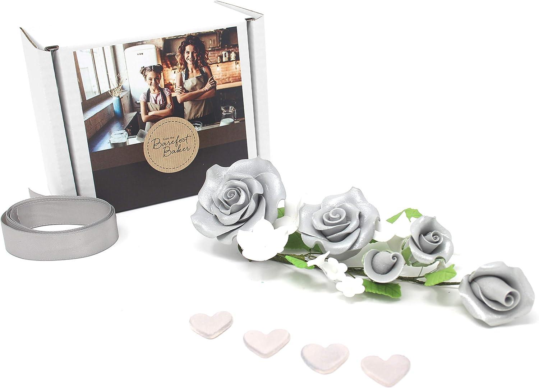 25th Silver Wedding Anniversary Sugar Rose Flower Cake Topper Decoration Amazon Co Uk Kitchen Home