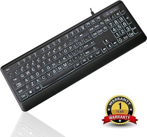 Tanix - Teclado retroiluminado LED con USB y letras de gran tamaño para personas con poca visión visual, color blanco