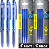 Pilot Frixion Point Gel Ink Stick Pens, Erasable, Extra Fine Point 0.5mm, Blue Ink, Pack of 3 with Bundle Refills