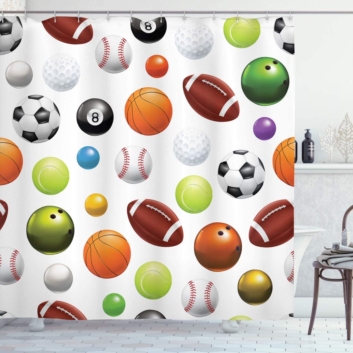 Ambesonne Sports Shower Curtain, Different Type of Balls Various Sports Professional Hobbies Leisure Time Activity, Cloth Fabric Bathroom Decor Set with Hooks, 70