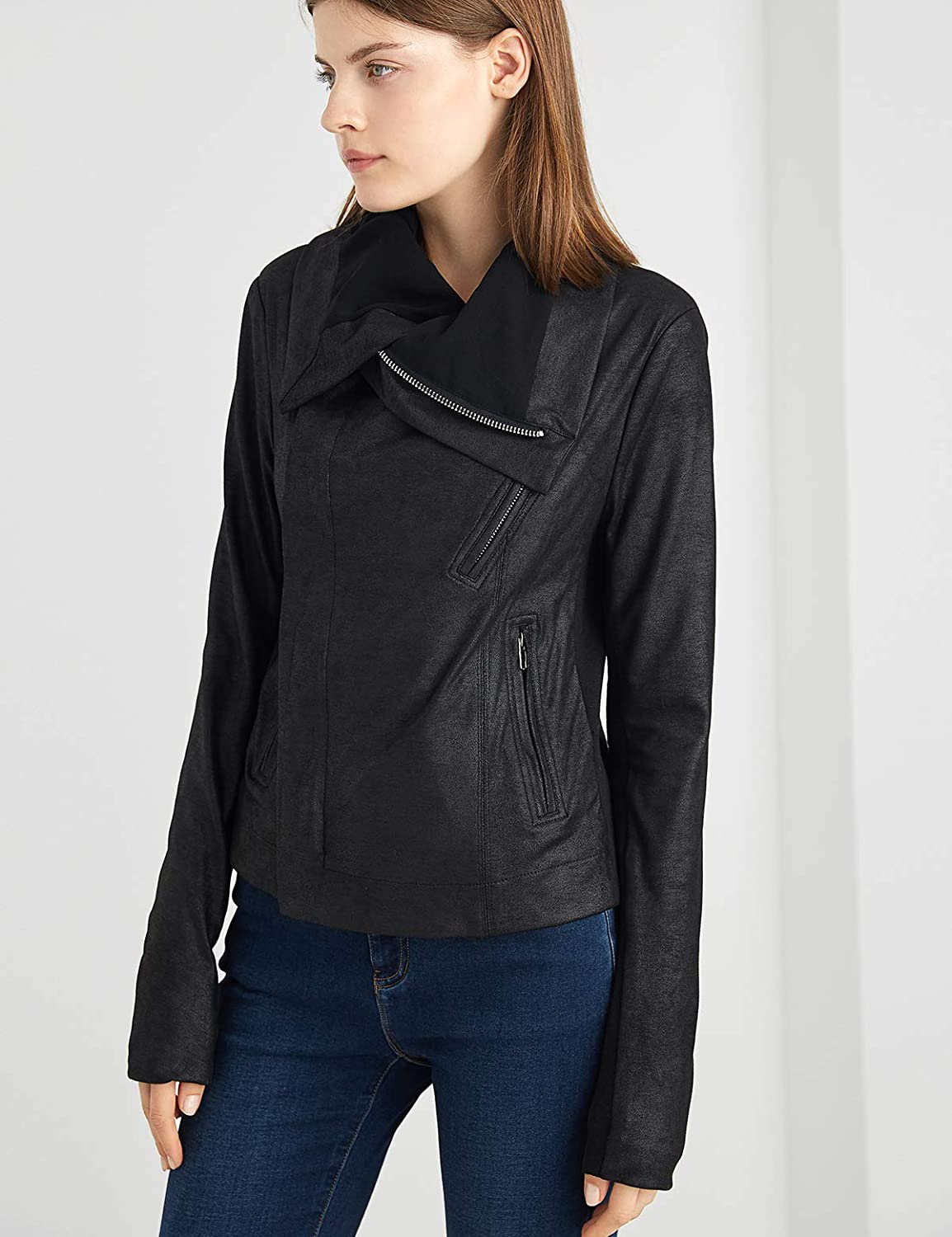 ANNA/&CHRIS Escalier Womens Faux Leather Jacket Zipper Open Front Motorcycle Bike Coat with Pockets