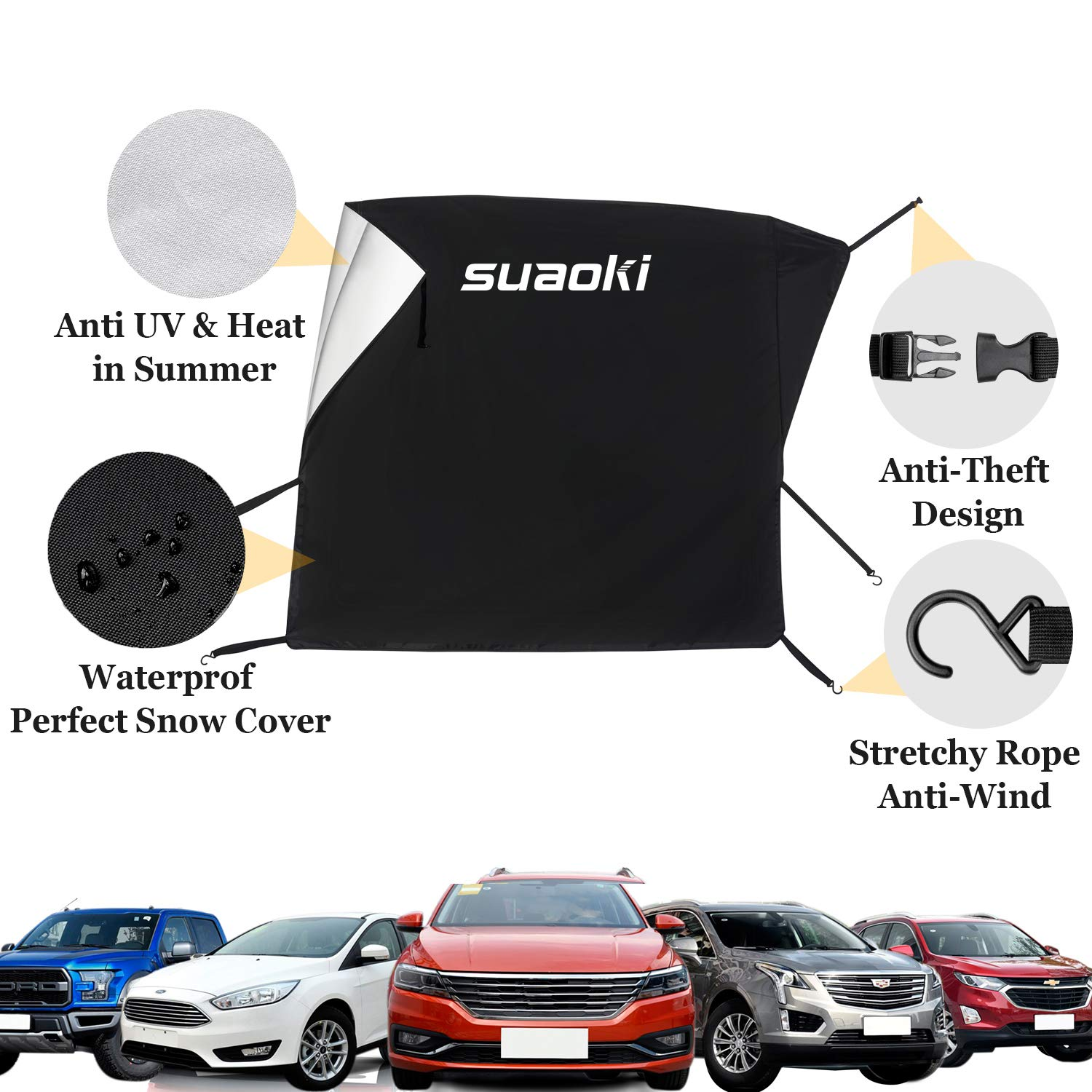 Trunk Ice Frost 80x 59 Snow Sun Protector Double Side Design Exterior Waterproof Fits Most Cars SUV SUAOKI Windshield Snow Cover Car Windshield Guard Van
