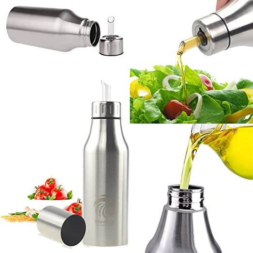 Dispensador de Aceite y Vinagre,Aceitera de acero inoxidable / dispensador de condimentos líquidos / leakproof Aceite Botella, acero inoxidable, ...
