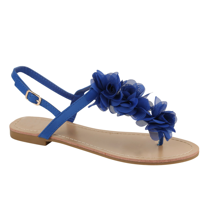 Stiefelparadies Damen Sandalen Zehntrenner Uuml;bergrouml;szlig;en Flandell  38 EU|Blau Blumen